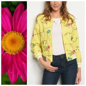 Jackets & Blazers - Floral Embroidered Yellow Bomber Jacket